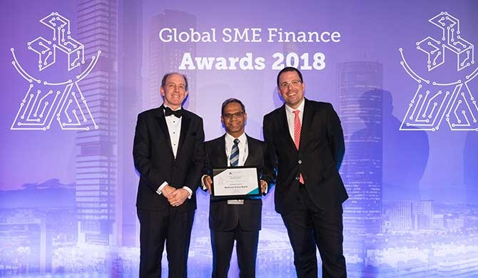From L to R: Matthew Gamser, CEO, SME Finance Forum, Bandara Jayatilake, Senior Executive Vice President SME Banking - Nations Trust Bank PLC and Raul Blanco Diaz, Spain's Secretary of Industry and SMEs