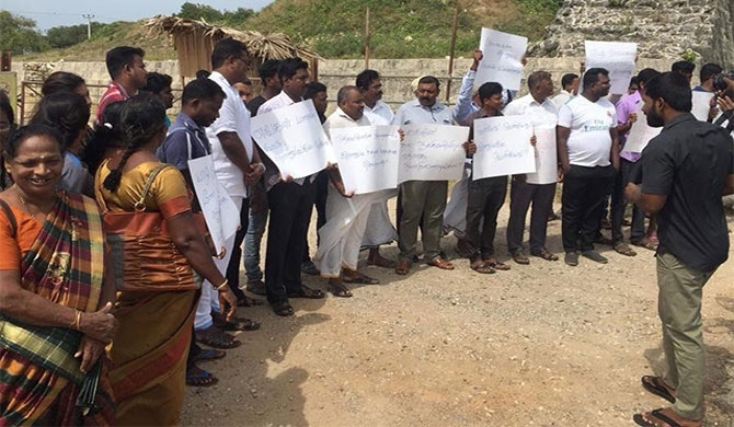 Protest against giving the Army land from Jaffna Fort (video)