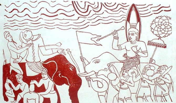 A mural from Dambulla rock paintings