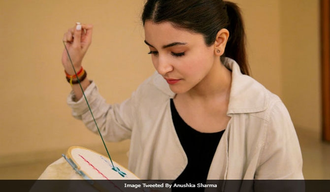 Anushka learns embroidery? (Pic)