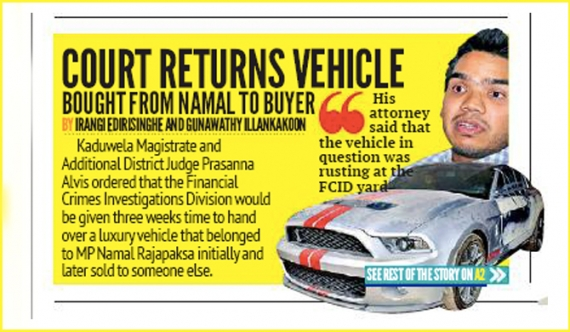 """Daily Mirror"" news on Namal's Mustang false?"