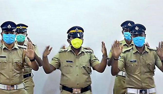 Kerala cops' handwashing dance goes viral (Video)