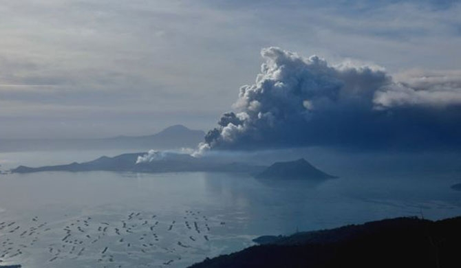 Philippines' Taal starts to spew lava