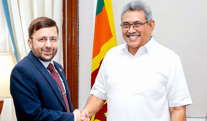 Pakistan High Commissioner Major General (Retd) Muhammad Saad Khattak paid a courtesy call on President Gotabaya Rajapaksa at the Presidential Secretariat yesterday. Picture courtesy President's Media Division