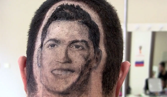 Hair tattoos for Football fans (Video)