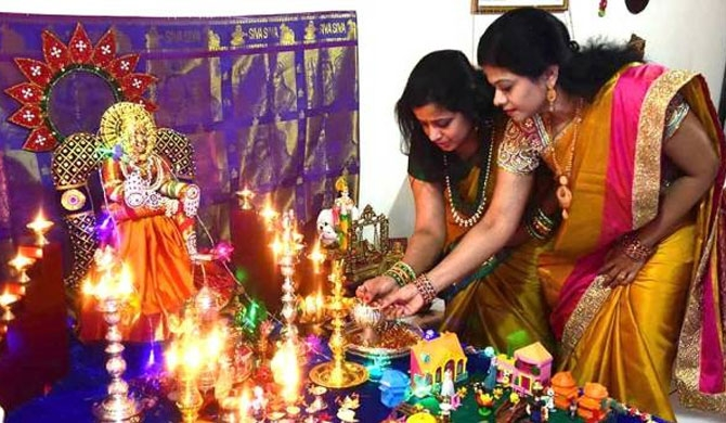 Women celebrate Diwali in Al Muraqqabat.