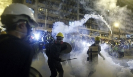 Tear gas fired at HK protesters