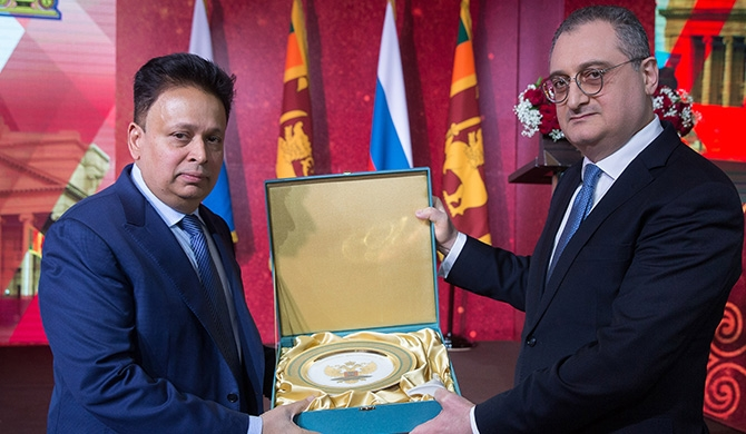 Russian Foreign minister presents token of appreciation to SL ambassador