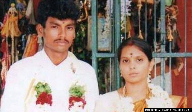 cap:A wedding picture of Shankar and Kausalya after they got married in July 2015