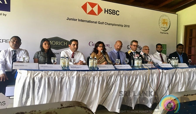 L - R, (General Manager RCGC - Nalin Jayatileke, Head of brand marketing of John Keells Group - Lucille Diaz, Head of Marketing of HSBC - Tharanga Gunasekera, Council member Sri Lanka Golf Union -  Mrs. Niloo Jayatilake, President of the Sri Lanka Golf Union -  Air Chief Marshal Mr. Harsha Abeywickrama, Chief Executive Officer of HSBC - Mark Prothero, Mr. Dirk Flamer Caldera, Marketing Manager Elephant House Ice Creams - Mr. Kasun Gunarathne, CEO of OLU Tropical Water - Shalindra Fernando)