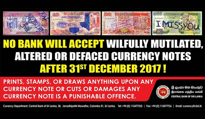 Deadline to exchange damaged currency notes