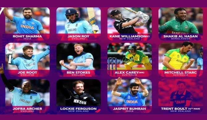 CWC team of tournament announced no Sri Lankan player