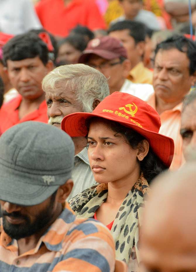 Large crowds at JVP protest rally